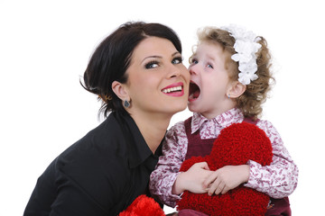 beautiful mother with her daughter studio shoot
