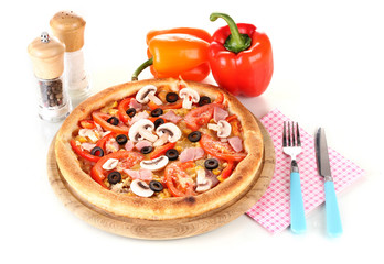Aromatic pizza with vegetables isolated on white