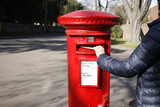 Traditional British red post box poster