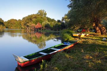 Camp near river small Danube