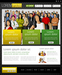 Yellow and green website Template with business people