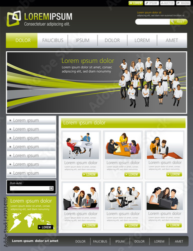 Green lime and gray website Template with business people