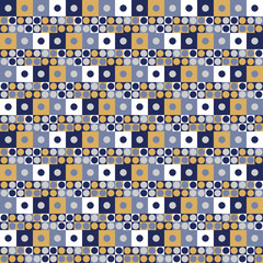 Abstract retro pattern with circles and squares