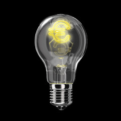 Light bulb classic type. The filament is of the shape of Euro, l