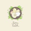 Happy Easter card template, basket with eggs in grass