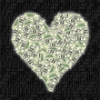 an image of heart shape with dollar bill
