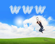 girl jump and showing tablet pc with www cloud