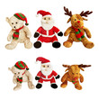close up shot of Christmas toys isolated over white