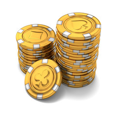Small group of gold casino chips on white - 3D rendering