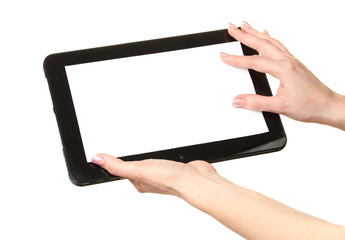 woman hands holding tablet isolated on white