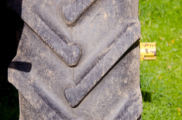 Tractor tire protector closeup background detail