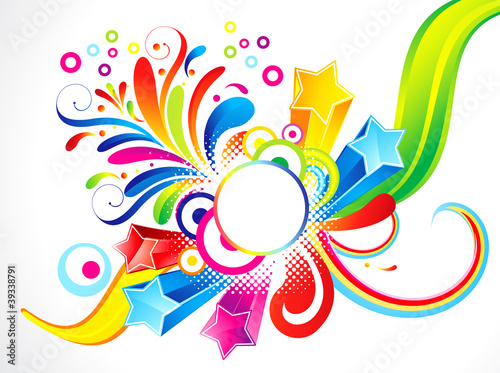 abstract colorful floral with star
