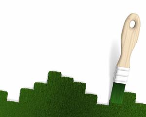 Pinceau 3d et pelouse, geste écologique