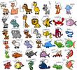 Большой набор мультфильм животных, вектор
