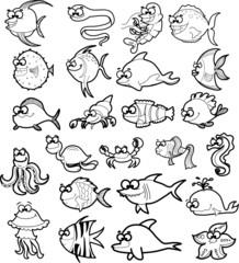 Большой набор мультфильм черно-белые морские животные