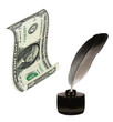 US Dollar, inkwell, feather. Writing and money.