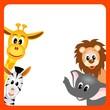 illustration of little giraffe, elephant, zebra  and lion
