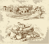 Fototapety Village houses sketch with food