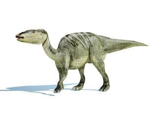 Photorealistic 3 D rendering of an Edmontosaurus.