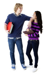 teen boy and girl with school books