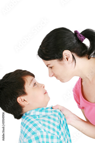 Boy confronts his mother isolated on white background