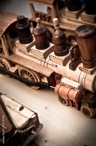handmade wooden toy trains
