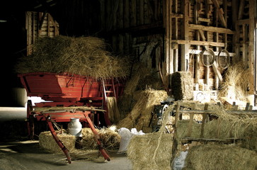 Rustic Red Cart In Barn