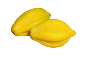 Fruta papaya con fondo blanco