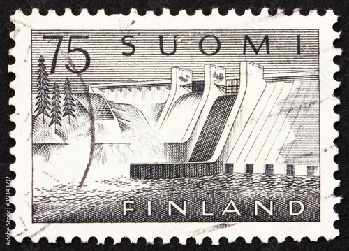Keuken foto achterwand Dam Postage stamp Finland 1959 Pyhakoski Power Station