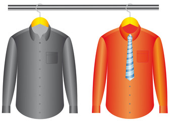 The color shirts with clothes hanger with tie