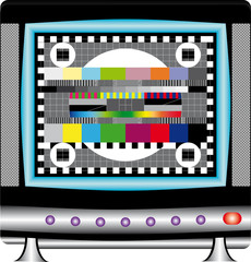 TV set with multicolor signal test pattern.