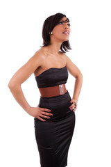 Beautiful african woman with elegant black dress