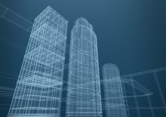 City of skyscrapers in shapes. Concept 3D design