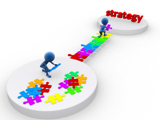 business team work building a puzzle. Business strategy concept.