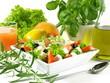 Garnished greek salad on isolated background