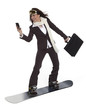 Businesswoman on a Snowboard
