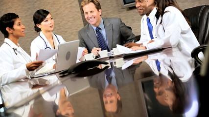 Five Multi Ethnic Medical People in Team Meeting