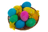 Wicker basket of dyed eggs and flowers top poster