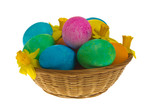 WIcker basket of dyed eggs and flowers side poster
