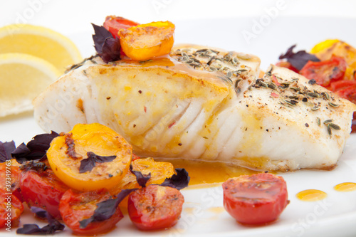 Fototapeta Pan fried halibut