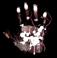 Abstract bloody hand-print isolated on a black background