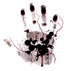 Bloody hand-print painted isolated on a white background