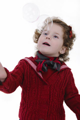 little girl with blond curly hair studio shoot