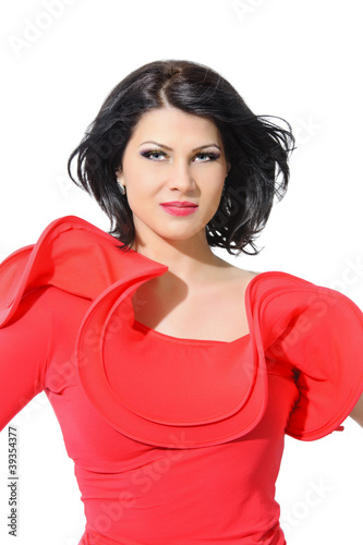 beautiful fashion black hair woman studio shoot portrait