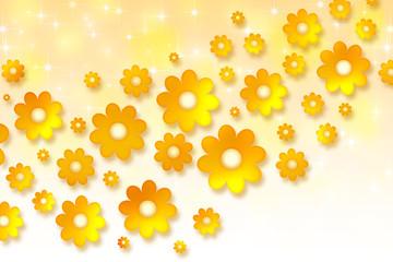 Yellow background with orange chamomiles