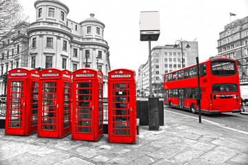 Red telephone boxes and double-decker bus, london, UK. © Luciano Mortula-LGM