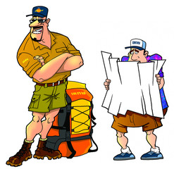 cartoon tourists, set4