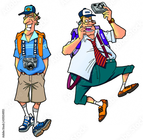 cartoon tourists, set3