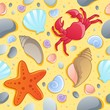 Beach theme seamless background 1