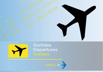 Panel informativo de salidas en el aeropuerto